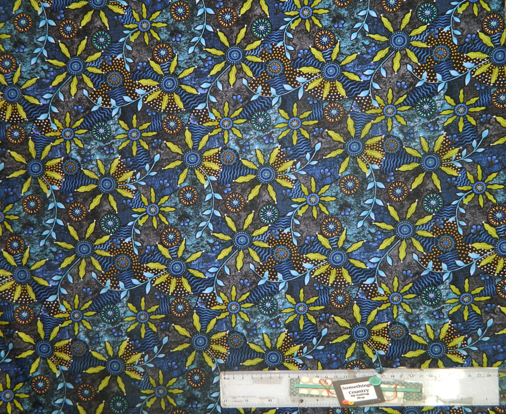 Patchwork Quilting Sewing Fabric WALKABOUT GREEN ABORIGINAL Cotton Material 50x55cmFQ New