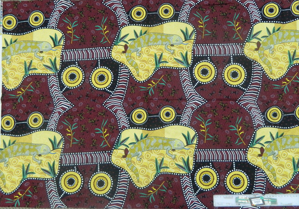 Patchwork Quilting Sewing Fabric ABORIGINAL LIZARD Panel 76x110cm New