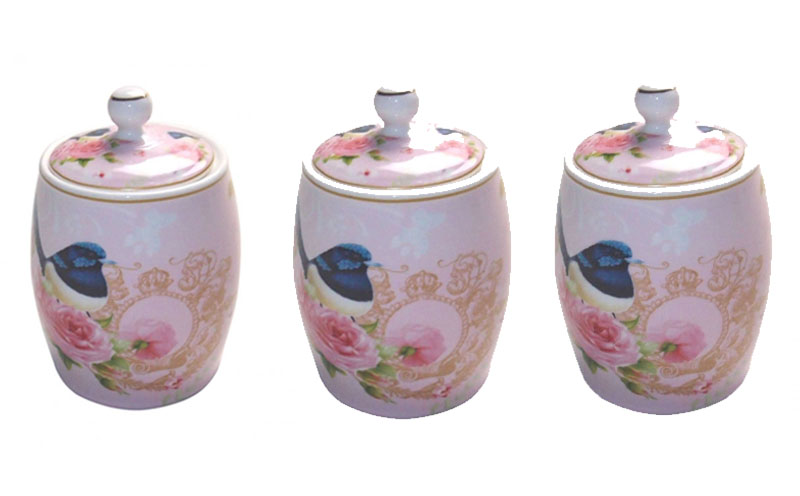 French Country Kitchen Canisters Set Of 3 PINK BLUE WREN