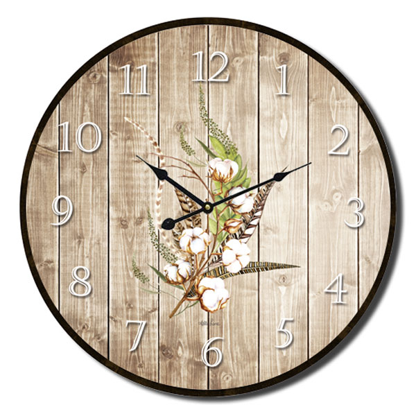 Clock French Country Vintage Inspired Wall Clocks 34cm Poppy Wood Grain New