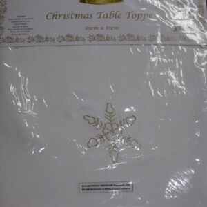 Country Christmas Inspired White with Metallic Gold Accent Table Topper New