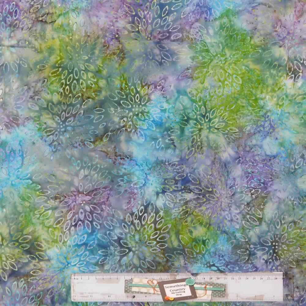Patchwork Quilting Sewing Fabric BATIK PURPLE BLUE GREEN PETALS 50x55cm FQ New