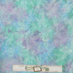 Patchwork Quilting Sewing Fabric BATIK PURPLE GREEN BLUE ROSES 50x55cm FQ New