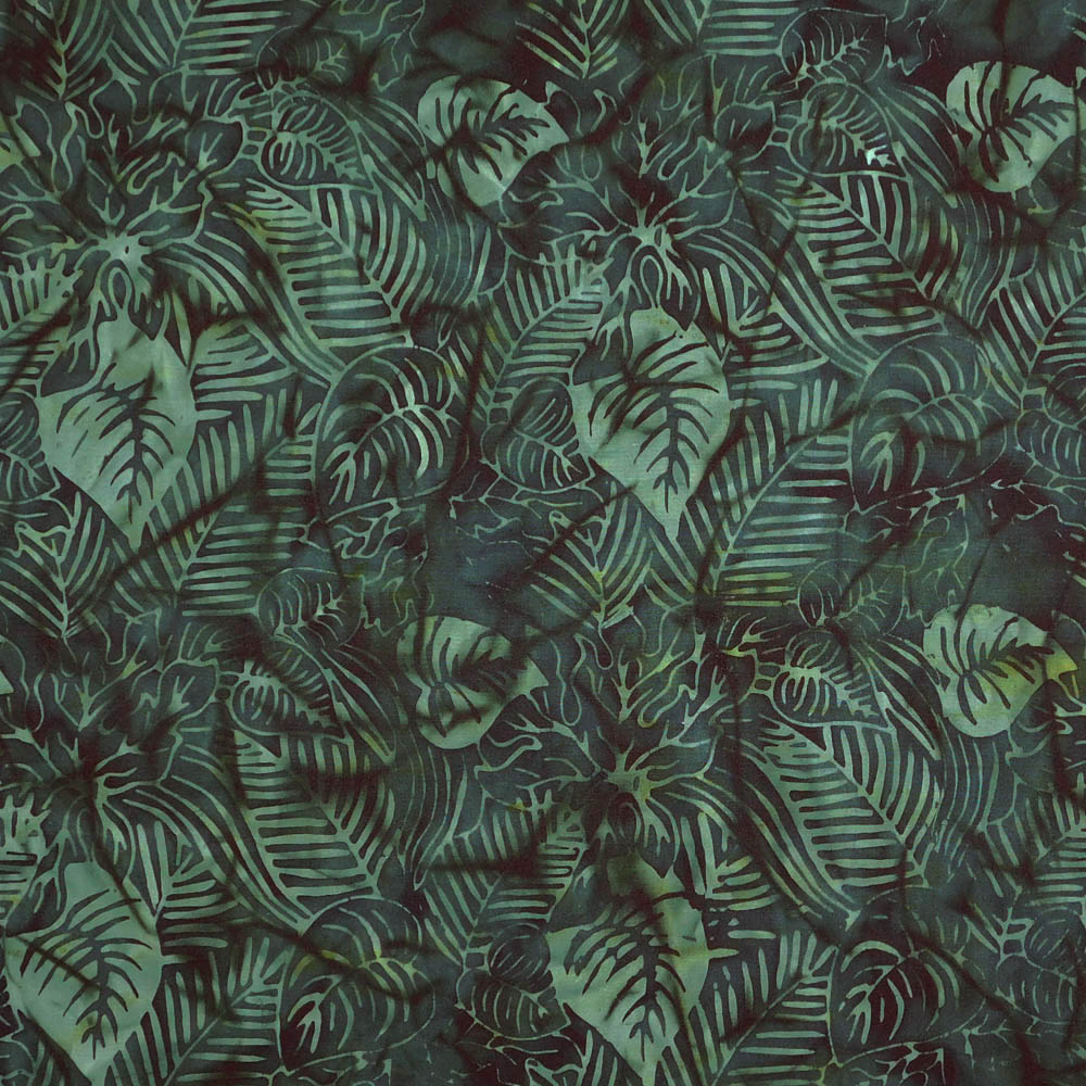 Patchwork Quilting Sewing Fabric BATIK DK GREEN JUNGLE LEAVES 50x55cm FQ New