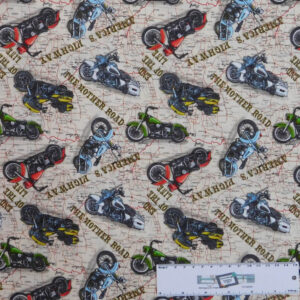 Patchwork Quilting Sewing Fabric AMERICAN DREAM MOTORBIKES 50x55cm FQ New