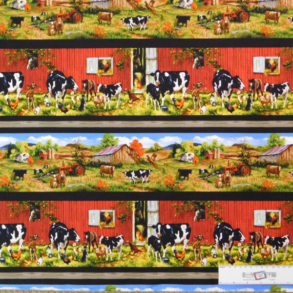 Patchwork Quilting Sewing Fabric OLD FARMSTEAD BORDER COWS 50x55cm FQ New