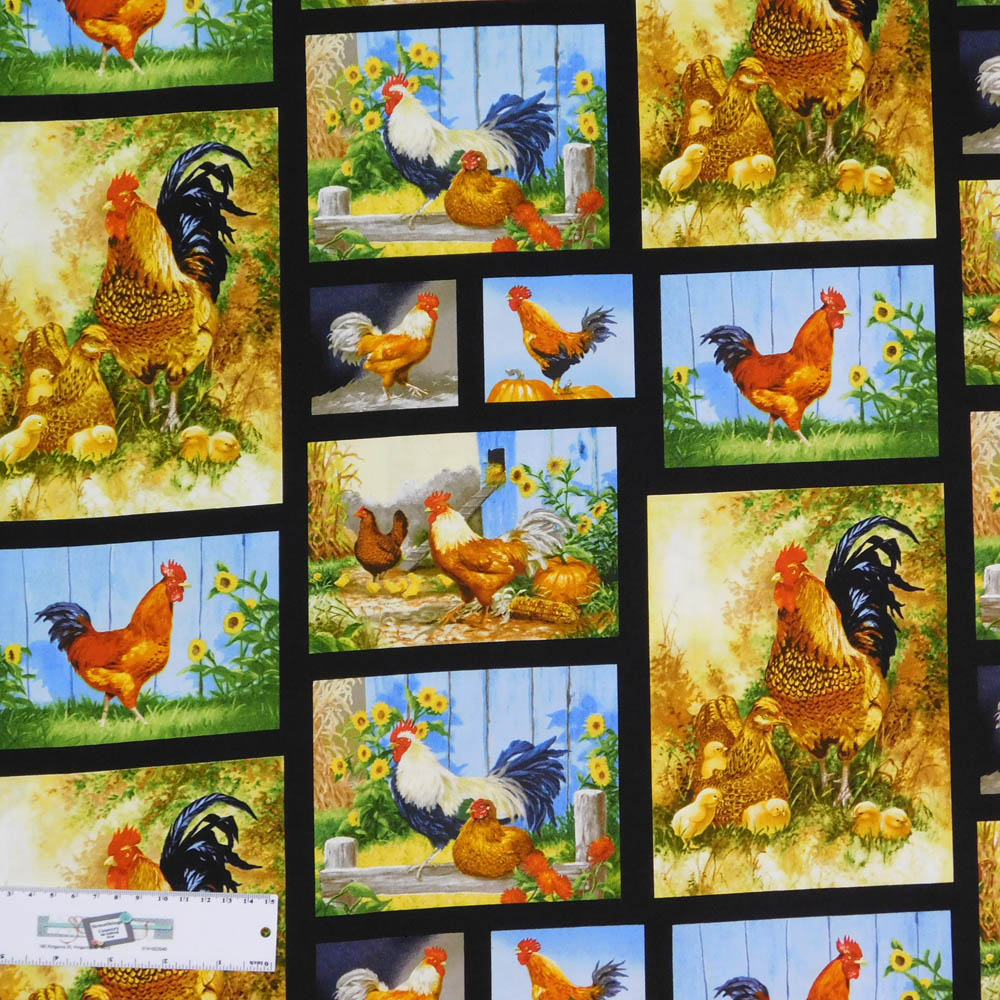 Patchwork Quilting Sewing Fabric OLD FARMSTEAD CHICKEN SQUARES 50x55cm FQ New
