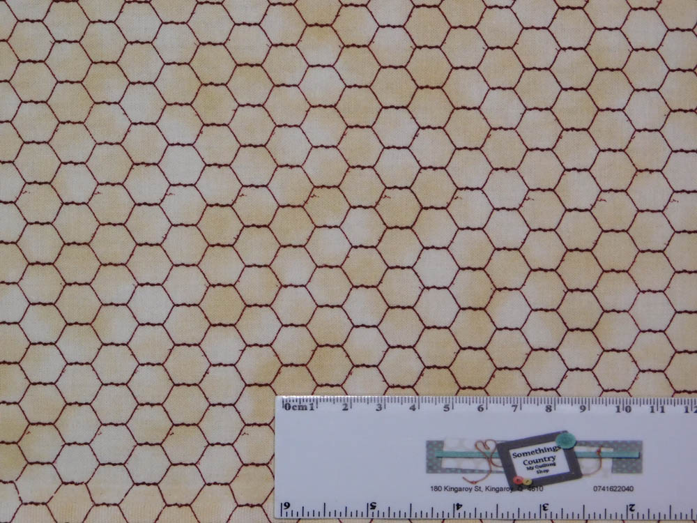 Patchwork Quilting Sewing Fabric OLD FARMSTEAD CHICKEN WIRE 50x55cm FQ New