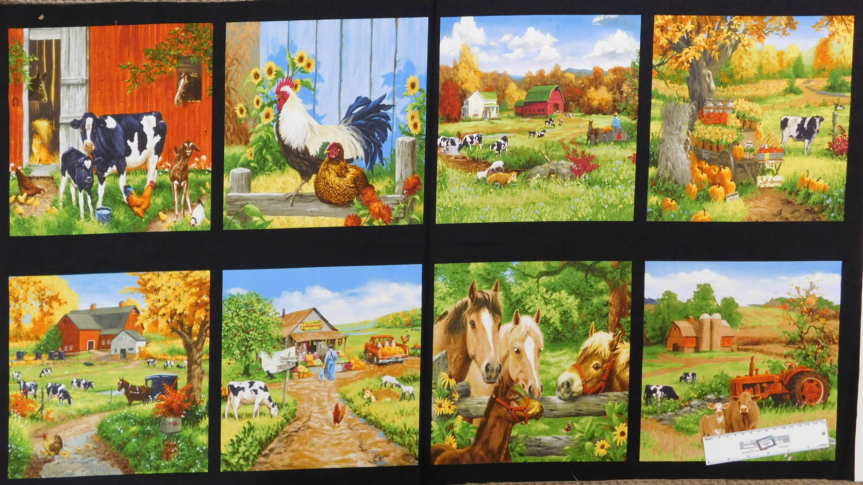 Patchwork Quilting Sewing Fabric OLD FARMSTEAD BLOCKS Panel 60x110cm New