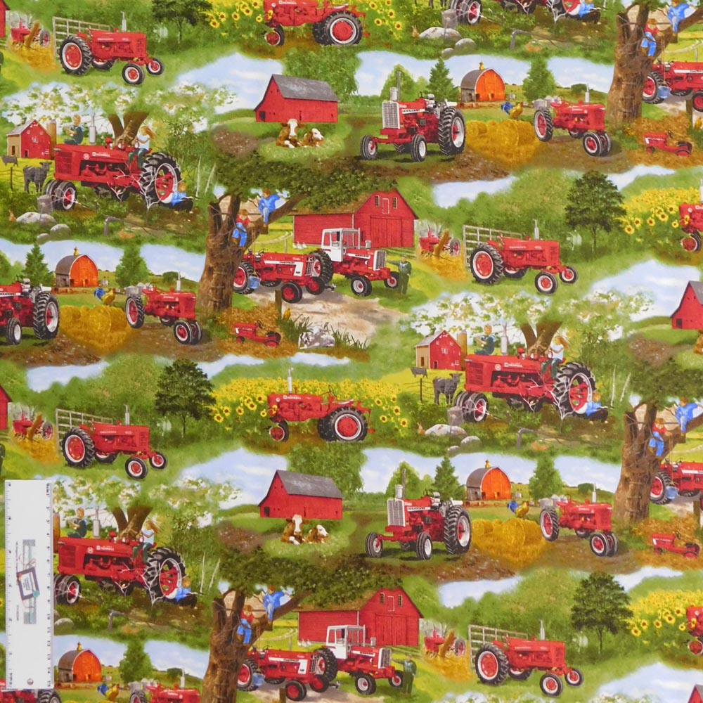 Patchwork Quilting Sewing Fabric RED TRACTORS AND FARM 50x55cm FQ New