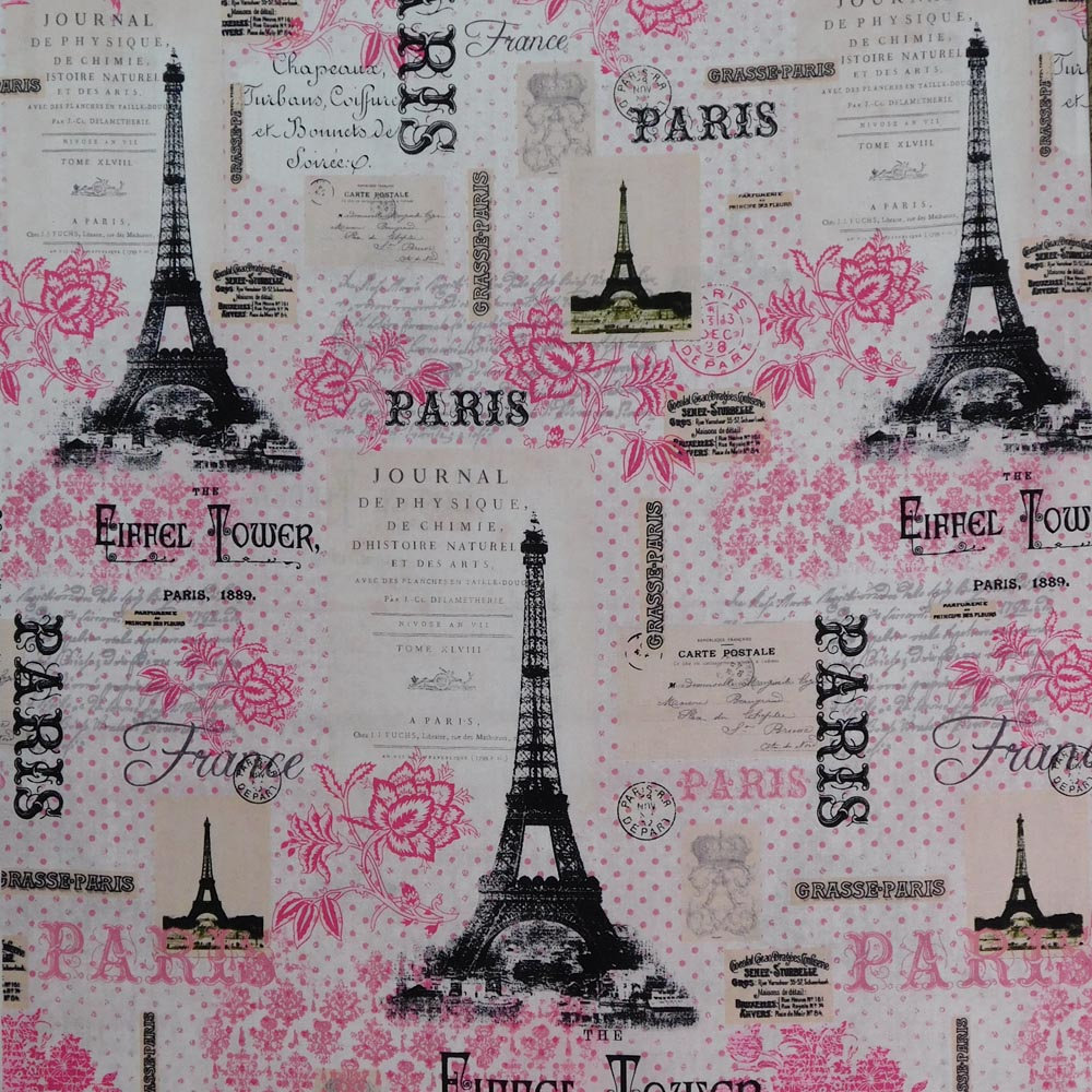 Patchwork Quilting Sewing Fabric EIFFEL TOWER PINK PARIS 50x55cm FQ New