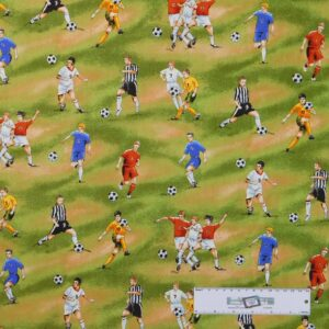 Patchwork Quilting Sewing Fabric SOCCER FOOTBALL PLAYERS 50x55cm FQ New