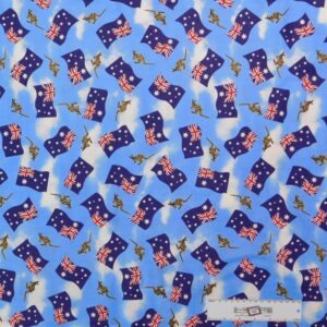 Patchwork Quilting Sewing Fabric AUSTRALIAN FLAG KANGAROO 50x55cm FQ New