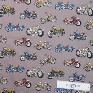 Patchwork Quilting Sewing Fabric CLASSIC MOTORBIKES Material 50x55cm FQ New