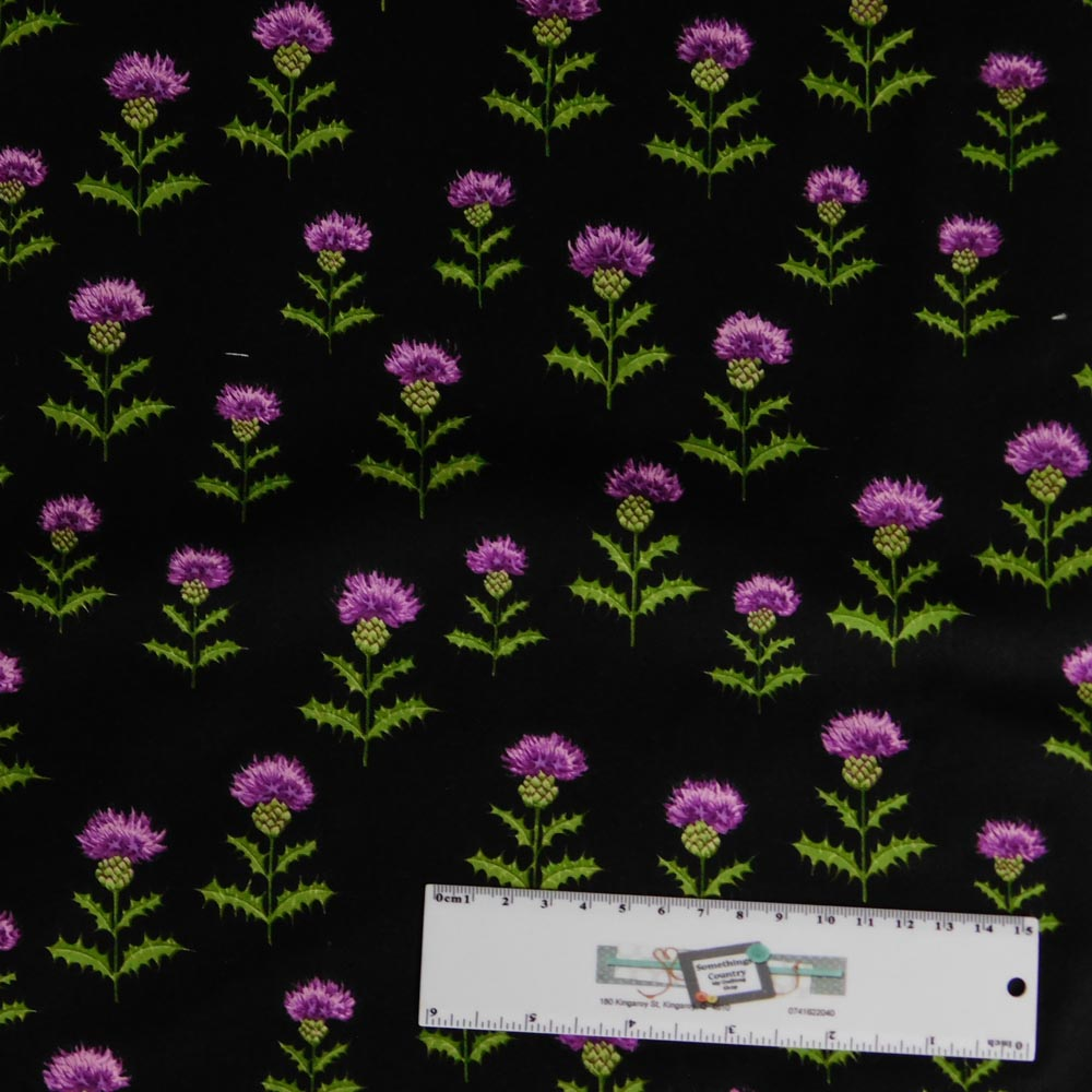 Patchwork Quilting Sewing Fabric SCOTCH THISTLE BLACK 50x55cm FQ New