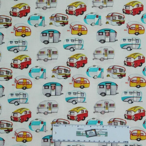 Patchwork Quilting Sewing Fabric CARAVAN WHITE Material 50x55cmFQ New