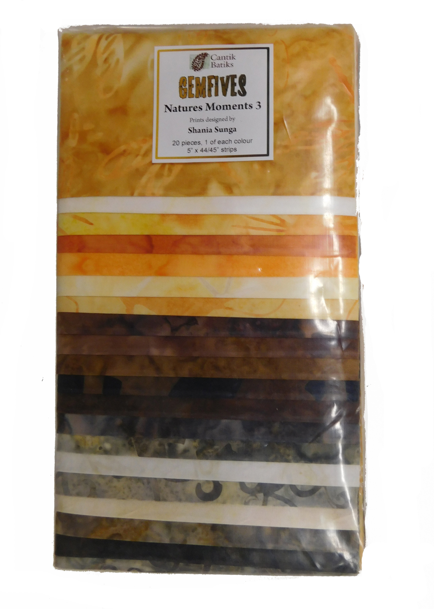 Quilting Dessert Roll Cotton NATURES MOMENTS 5x44 Inch Strips Fabric BATIK NEW