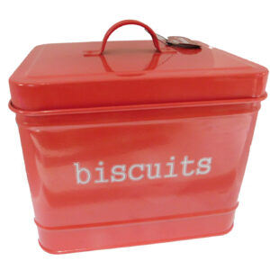 Enamel Retro French Country Kitchen Tin BISCUITS RED New FREEPOST