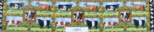 Patchwork Quilting Sewing Fabric OLD FARMSTEAD COWS Panel 23x110cm New