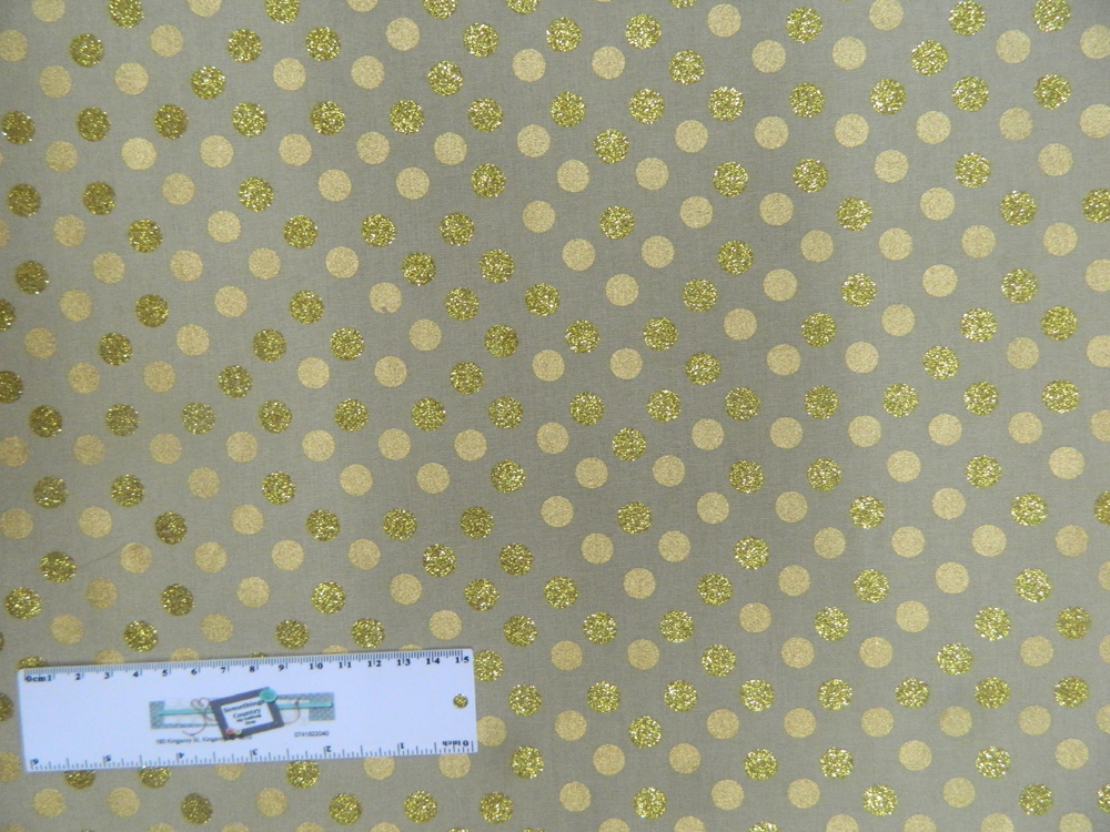 Patchwork Quilting Sewing Fabric FAWN WITH METALLIC GOLD SPOTS 50x55cm FQ New