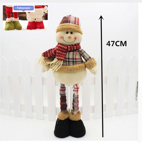 Country Christmas Plush Standing Snowman with Telescopic Legs New