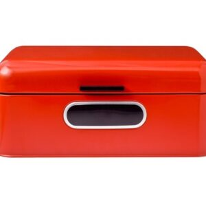 Enamel Retro Kitchen Bread Box Yesteryear RED SMALL Hinged Lid Window NEW
