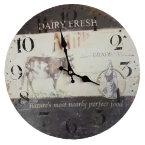 Clock French Country Vintage Inspired FARM FRESH MILK Wall 29cm NEW