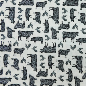 Patchwork Quilting Sewing Fabric HOMEGROWN FARM ANIMALS Material 50x55cm FQ New