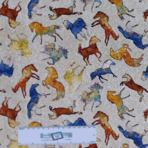 Patchwork Quilting Sewing Fabric MUSTANG SUNSET HORSES ALLOVER 50x55cm FQ New