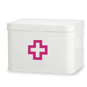 Enamel Retro Enamel Medicine Medical PINK CROSS Box Storage Tin White New