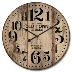 Clock French Country Vintage Inspired Wall OLD TOWN Decorative Large 60cm NEW