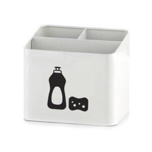 Enamel Retro Enamel Sink Caddy WHITE BLACK Kitchen Basin Detergent Holder