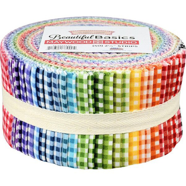 Quilting Jelly Roll Sewing BEAUTIFUL BASICS CLASSIC CHECKS 2.5 Inch Strips Cotton Fabrics New