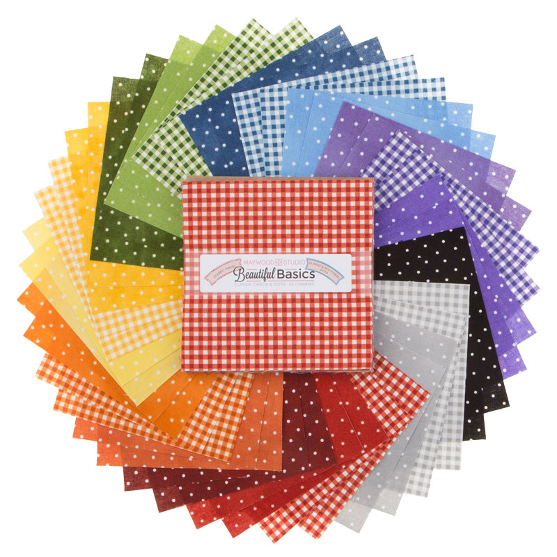 Quilting Fabric Charm Pack BEAUTIFUL BASICS CHECKS Patchwork 5 Inch Squares New