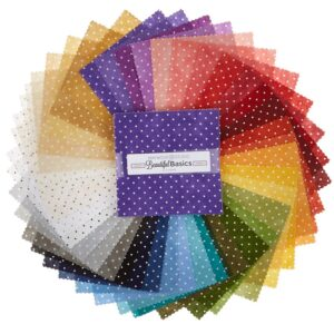 Quilting Fabric Charm Pack BEAUTIFUL BASICS CLASSIC DOTS Patchwork 5 Inch Squares New