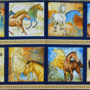 Patchwork Quilting Fabric SUNSET MUSTANG HORSE 2 Panel 60x110cm