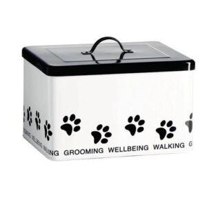 Enamel Retro Enamel Dog or Pet Accessories Box Storage Tin White FREEPOST