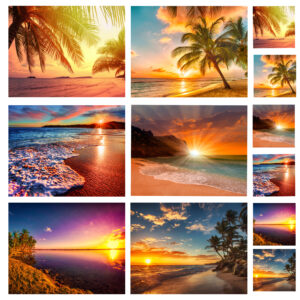 Country Kitchen Cork Backed Placemats AND Coasters SUNSET PARADISE BEACHES Set 6 NEW
