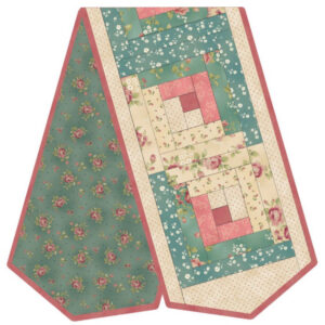 Quilting Sewing WELCOME HOME LOG CABIN PINK BLUE TABLE RUNNER KIT inc Fabric New