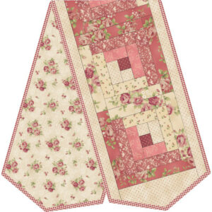 Quilting Sewing WELCOME HOME QUILT LOG CABIN PINK TABLE RUNNER KIT inc Fabric New