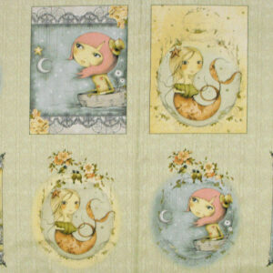 Patchwork Quilting Sewing Fabric WHIMSICAL GIRLS ADRIFT Panel 60x110cm New