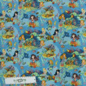 Patchwork Quilting Sewing Fabric MERMAIDS AQUATIC 50x55cm FQ New