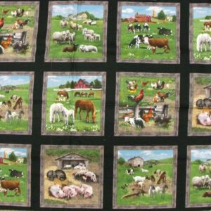 Patchwork Quilting Sewing Fabric FARM ANIMALS SQUARES Panel 60x110cm New