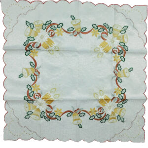 Christmas Inspired White with Metallic & Embroidery BELLS Accent Table Topper New