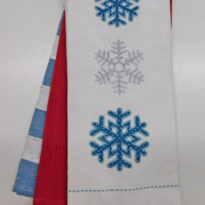 Set of 3 New Tea Towels Kitchen CHRISTMAS SNOWFLAKE BLUE Teatowels NEW