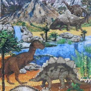 Patchwork Quilting Sewing Fabric PREHISTORIC DINOSAURS Panel 60x110cm New