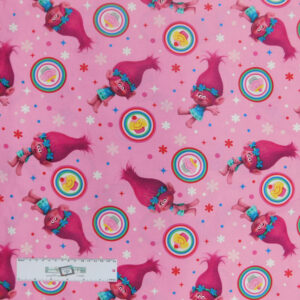 Patchwork Quilting Sewing Fabric TROLLS POPPY PINK 50x55cm FQ New