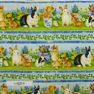 Patchwork Quilting Sewing Fabric EASTER BUNNY RABBITS Panel 50x110cm New