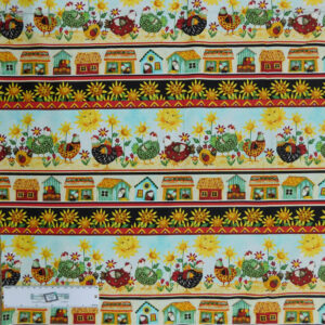 Patchwork Quilting Sewing Fabric COOPED UP CHICKENS Panel 50x110cm New