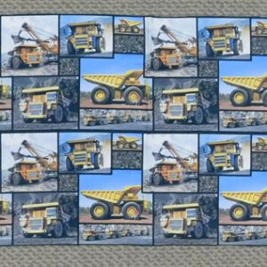 Patchwork Quilting Sewing Fabric MINING DUMP TRUCKS Panel 30x110cm New